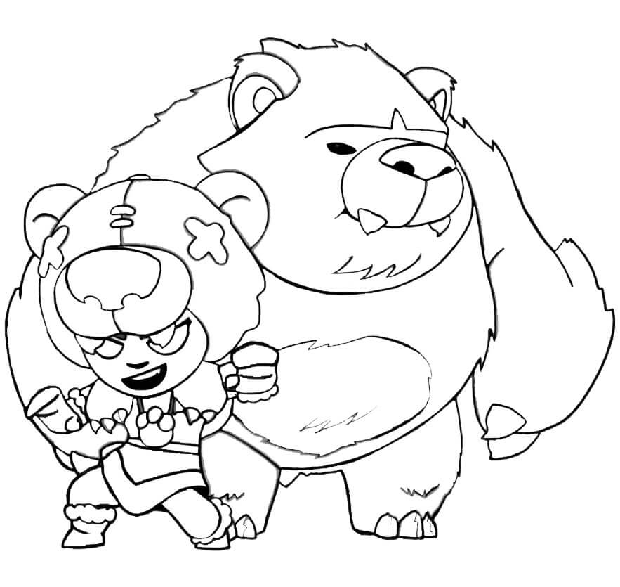 Coloriage gratuit à imprimer Brawl Stars - Brawler Nita et son ours