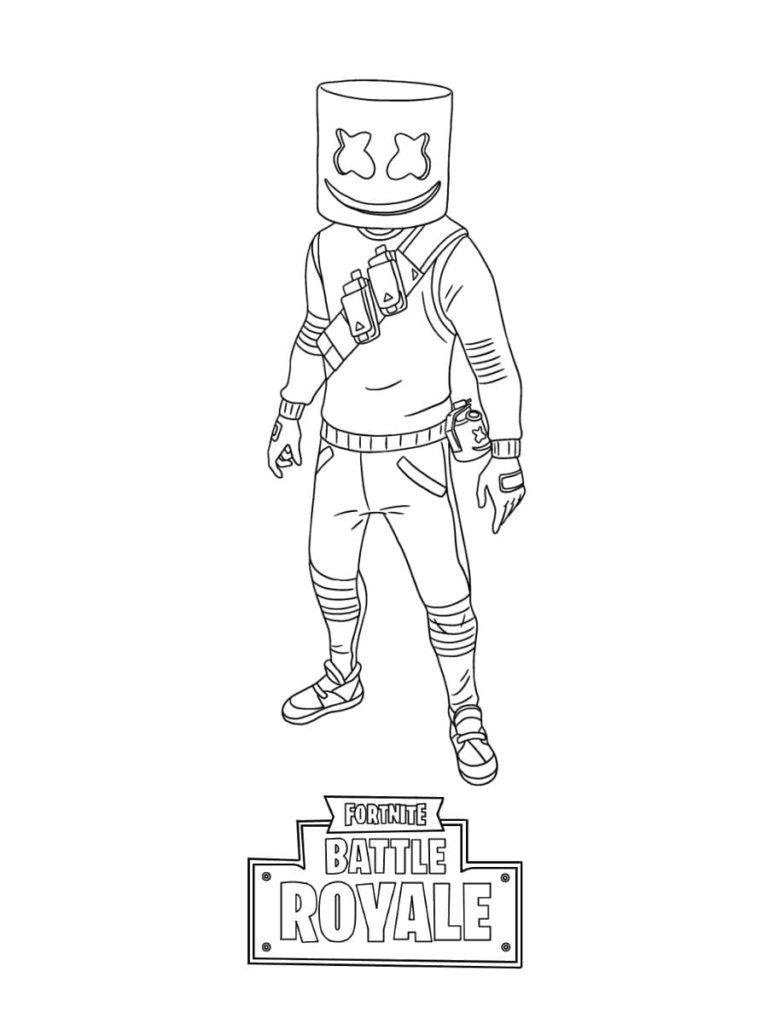 Coloriage Fortnite - Skin Marshmello série icône