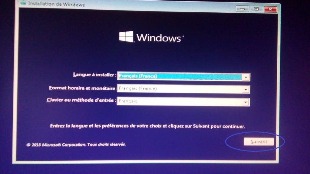 Démarrage de l'installation de Windows 10